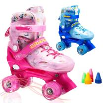 Boys Girls Adjustable Speed Quad Roller Skates All Wheels Flash Light Up Roller Skate Shoes for Kids Children