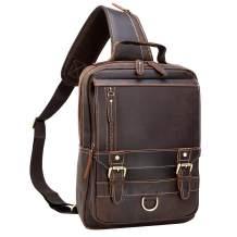 Polare Retro Full Grain Leather Shoulder Backpack Travel Rucksack Sling Bag Messenger Crossbody Bag