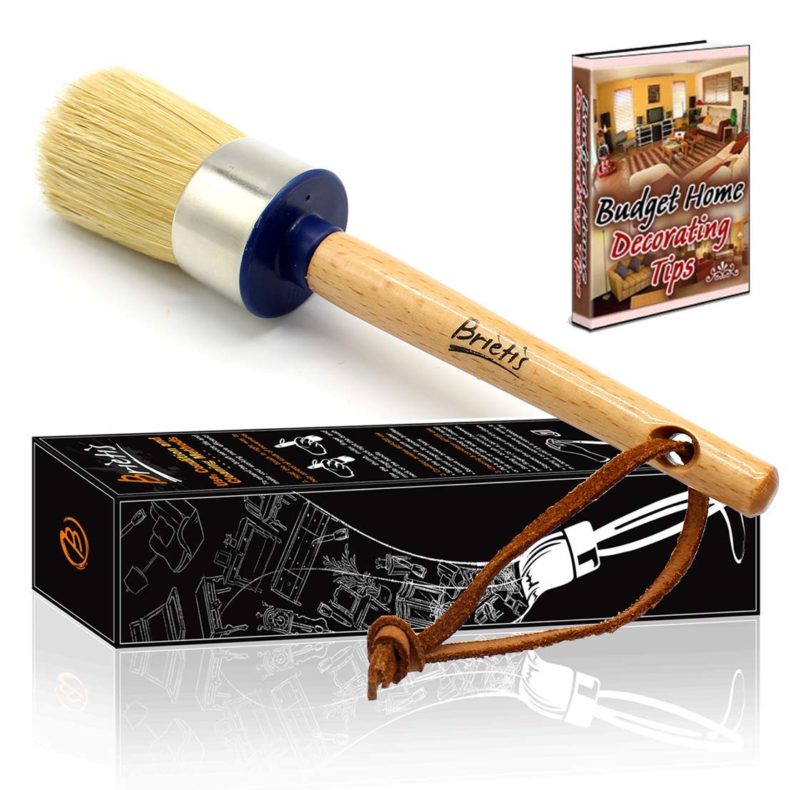 Brietis Premium Chalk Brush, Natural Boar bristles, Smooth Coverage for Furniture Painting, Chalked Paint Brushes, Milk Paint Brushes, Stencils, Clear, Large Round Brushes