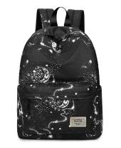 Joymoze Waterproof Cute School Backpack for Boys and Girls Lightweight Chic Prints Bookbag Black
