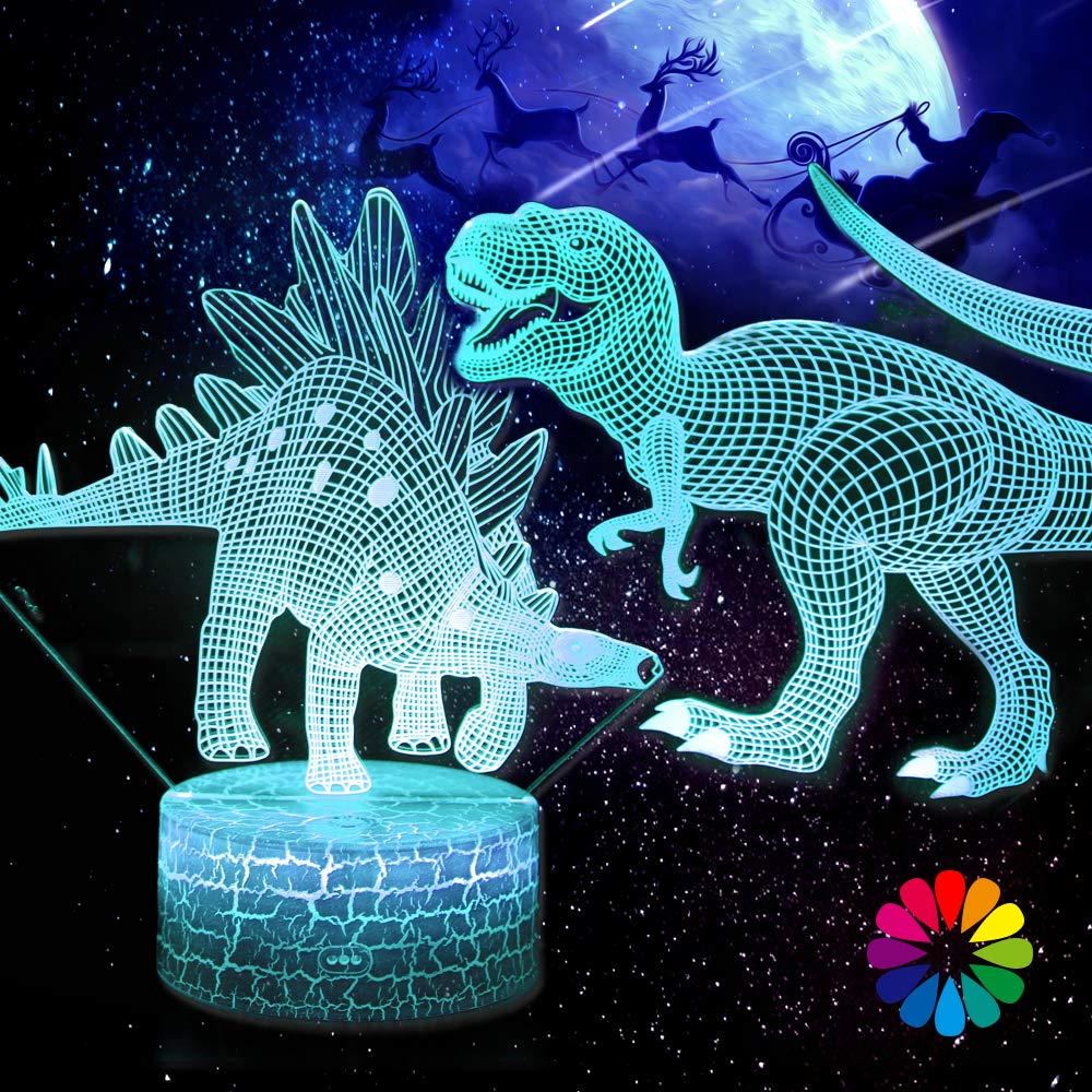 3D Dinosaur Night Light, Lamp, Toys for Kids, 16 Color Change Decor Lamp with Touch & Remote Control, 2 Patterns, Dinosaur/Birthday Gifts for Boys