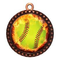 Express Medals 1 to 50 Packs Flame Softball Bronze Medal Trophy Award with Neck Ribbon STDD212-EMFCL805
