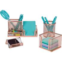 Desk Organizer Office Accessories Set - Set of 4 Rose Gold Desk Accessories, Mesh Desk Set Includes Pen Case, Sticky Note Holder, Business Card Tray, and Desk Organizer