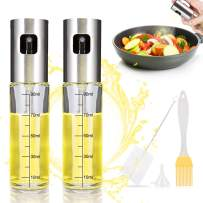 iTrunk Set Of 2 Olive Oil Sprayer for Cooking Refillable Oil Mister Spritzer with Oil Spray Bottle Brush, Basting Brush and Oil Funnel for Air Fryer Cooking, Making Salad, Baking, Roasting, Grilling