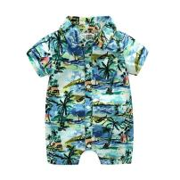 Weixinbuy Toddler Baby Boys Summer Casual Outfits Hawaiian Style Floral One-Piece Romper Blue