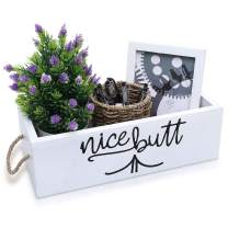Nice Butt Bathroom Decor Box - Funny Painted Wood Sign Caddy for Toilet Paper, Flowers, Candles - Top of Tank Storage Holder Organizer for Home - Cute Farmhouse, Rustic, Shabby Chic Gift (White-2)