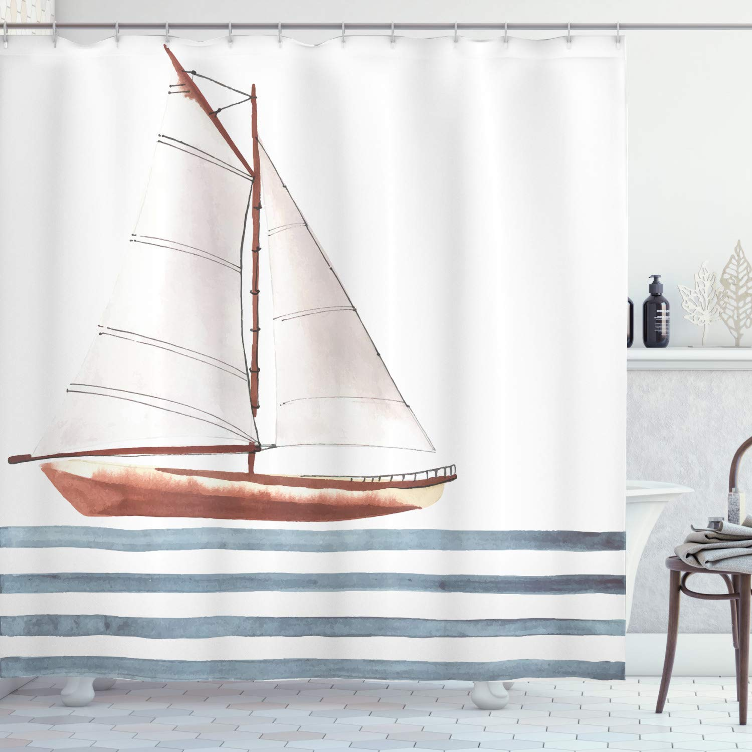 """Ambesonne Nautical Shower Curtain, Let Your Dreams Sail Words with Boat in Waves Motivation Lifestyle Print, Cloth Fabric Bathroom Decor Set with Hooks, 75"""" Long, Cinnamon Blue"""