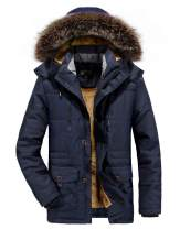 INVACHI Mens Winter Warm Fleece Lined Parka Jacket with Removable Hooded Fur Collar Windproof Outwear Coat
