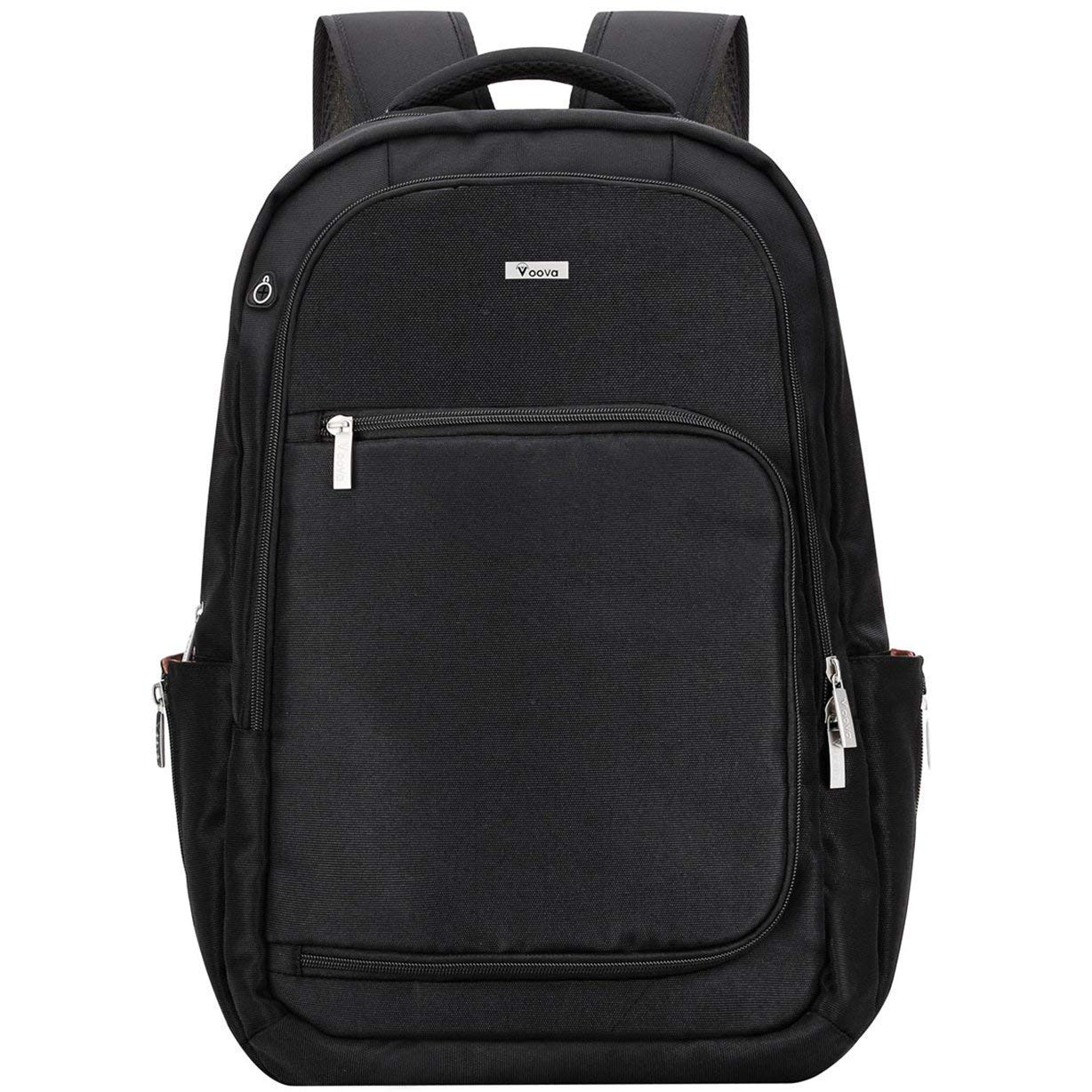 Voova Travel Laptop Backpack Multipurpose Anti-Theft Business Backpack Water Resistant College School Computer Bag for Women & Men Fits 15.6 Inch Laptop and Notebook -Black