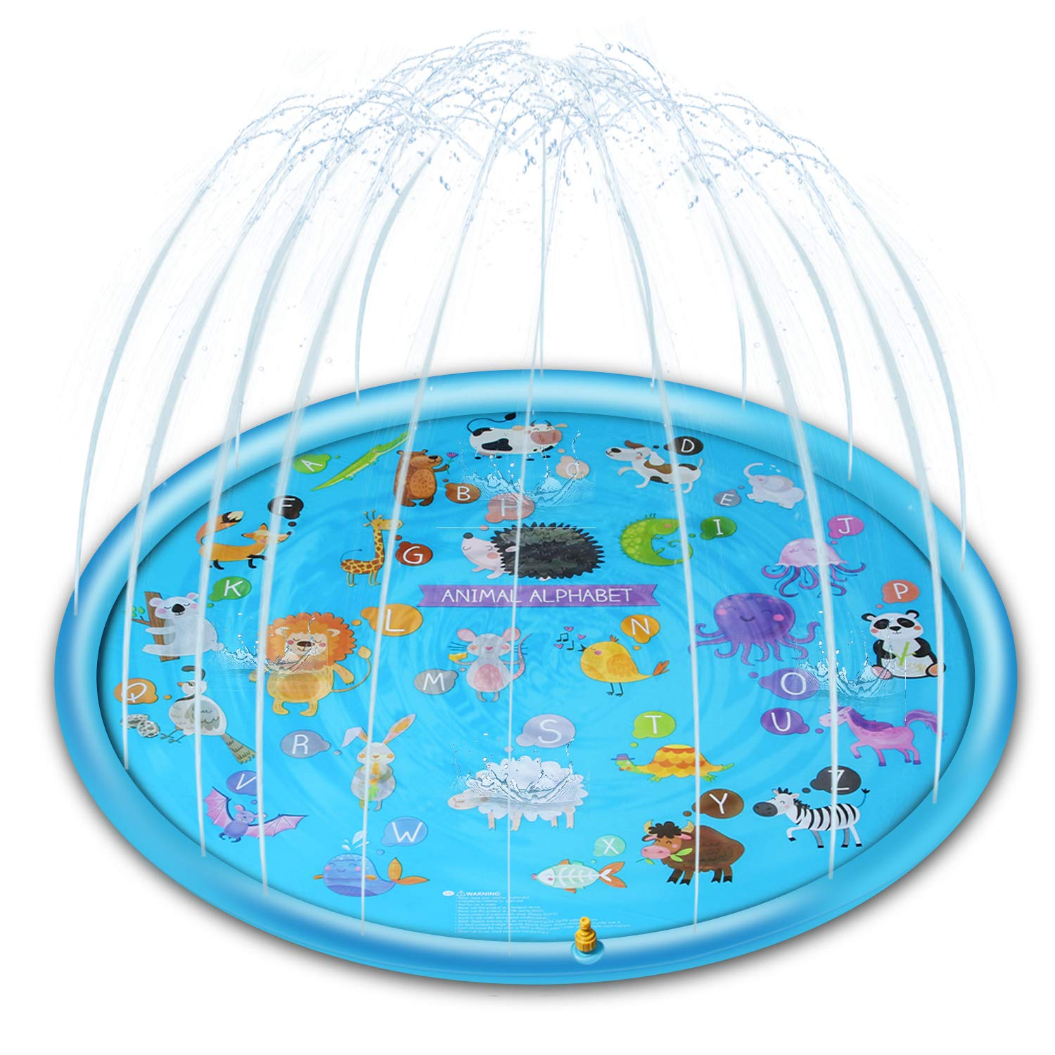 Kyerivs Sprinkler for Kids, 68'' Splash Pad Wading Pool for Babies Learning, Summer Outdoor Water Toys Play Mat for 1-12 Year Old Toddlers Boys Girls