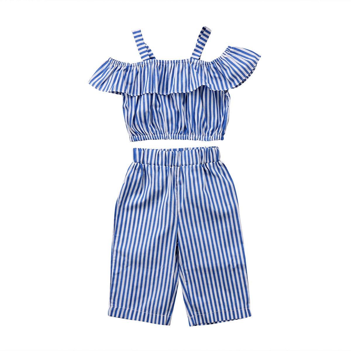 2Pcs Kids Toddler Baby Girls Off Shoulder T-Shirt Tops+Long Pants Outfit Clothes Set