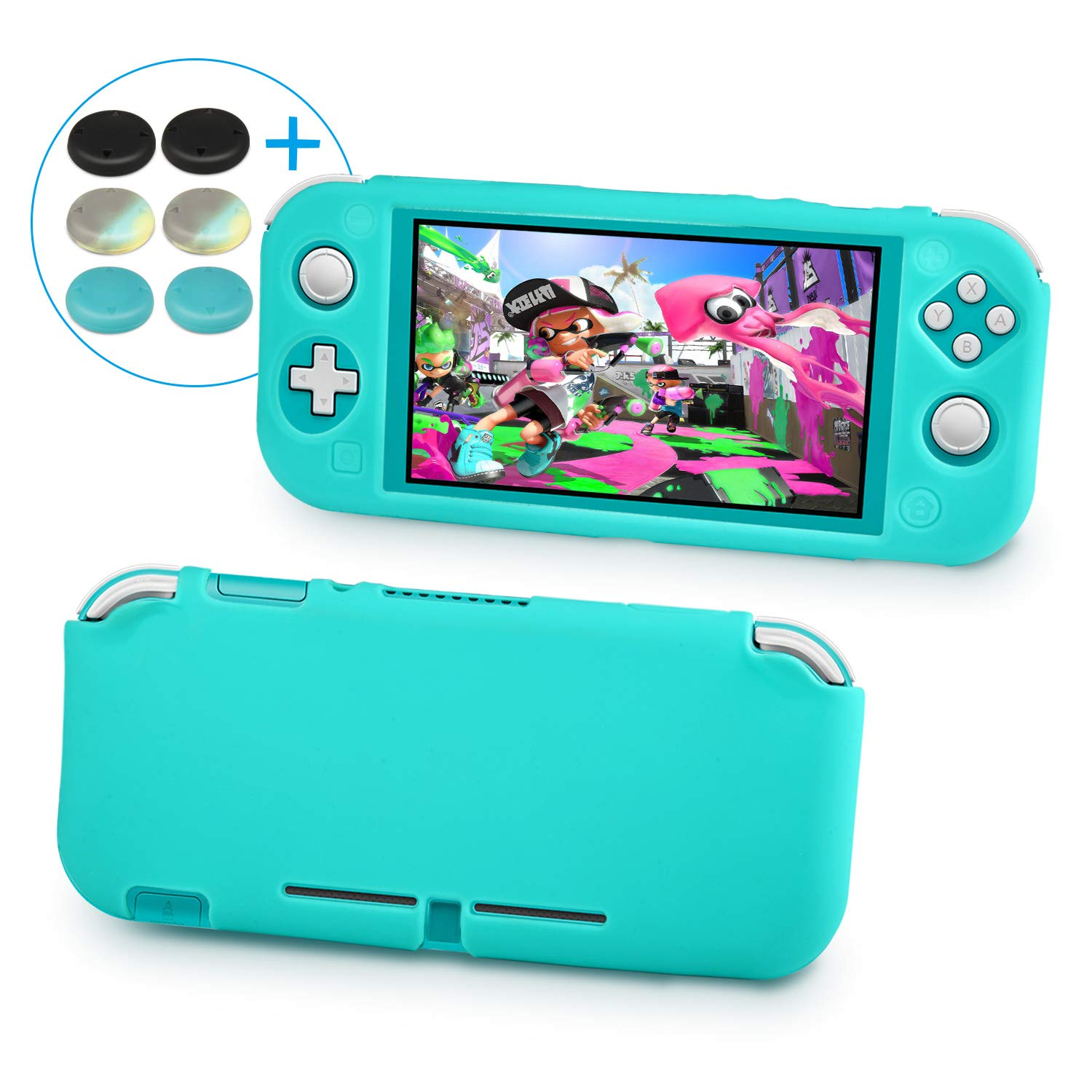 Keten Silicone Case for Nintendo Switch Lite, Anti-Slip Silicone Case Cover for Nintendo Switch Lite (2019) with 6 Thumb Grips Caps, Protective Case Lightweight Design for Comfort Feeling - Turquoise