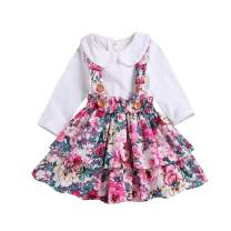 Baby Girl Suspender Skirt, Toddler Shirt Bodysuit Ruffle Floral Dresses Clothes Set Spring Summer Outfits