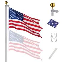 Yeshom 30 FT Upgraded Sectional Aluminum Flagpole 15 Gauge 24-30mph 3'x5' US American Flag Ball Fly 2 Flags Outdoor