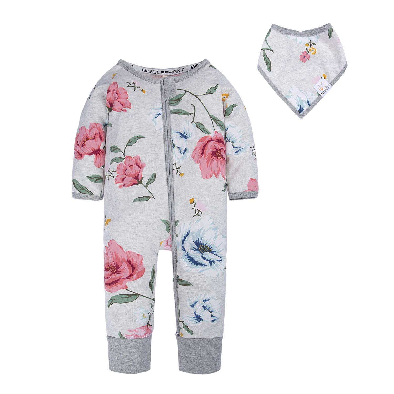 BIG ELEPHANT Baby Girls'1 Piece Long Sleeve Pajama Graphic Print Zipper Romper