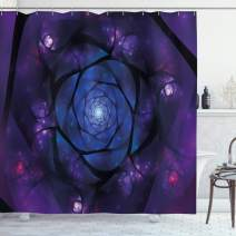 """Ambesonne Mandala Shower Curtain, Mystical Psychedelic Universe Flower in Space Motif Art Print, Cloth Fabric Bathroom Decor Set with Hooks, 70"""" Long, Purple Blue"""