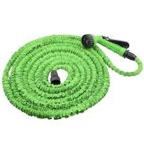 TeTeBak 25ft 3 Times Expandable Garden Hose, Expanding Water Hose with 7-Pattern Spray Nozzle, Heavy Duty Flexible Hose, Green