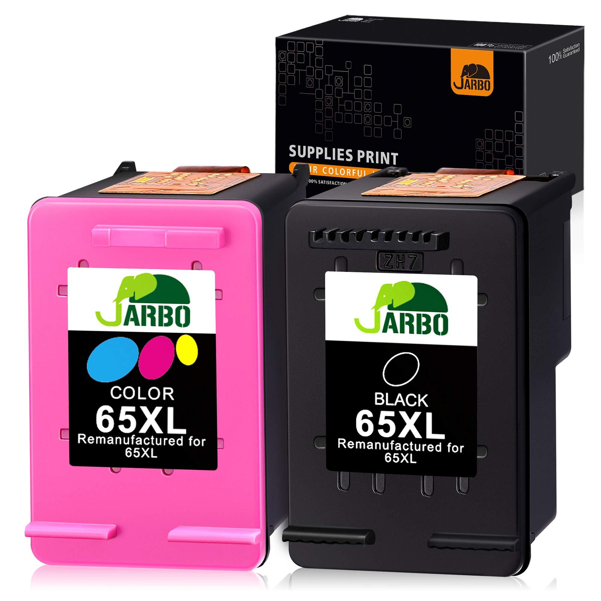 JARBO Remanufactured Ink Cartridge Replacement for HP 65XL 65 65 XL (N9K04AN) Combo Pack, 1 Black+1 Tri-Color, for Envy 5055 5058 5052 Deskjet 2655 2622 Deskjet 3755 3758 3752 3732 3730 3722 3721 3720