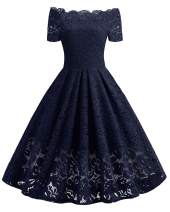 WERIDEDIRT Women's Vintage Floral Lace Boat Neck Cocktail Formal Swing Dress (Blue-Short Sleeve, S)