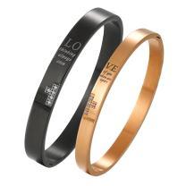 Cupimatch 2pcs Couple Bracelets, Stainless Steel Loving Bangle Bracelet with Engraved Love for Lover Women Mens