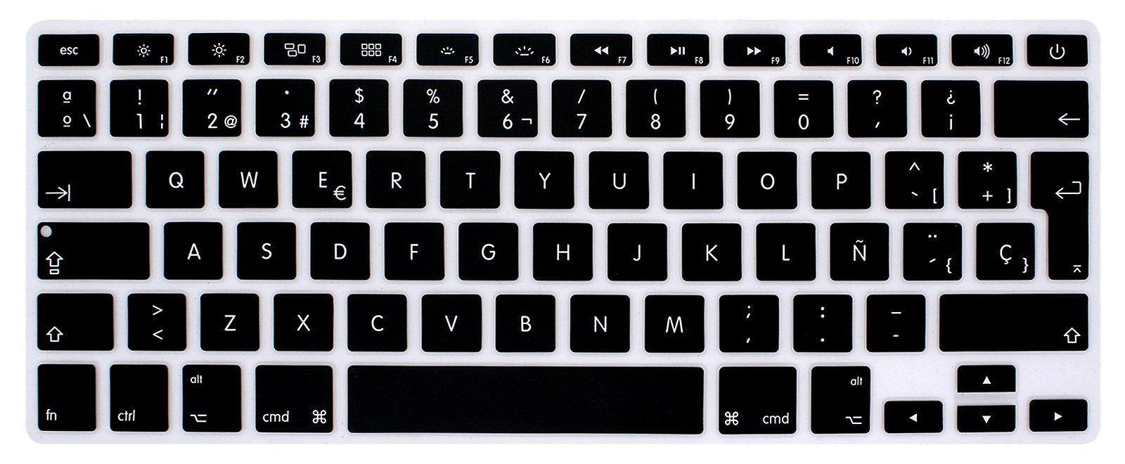 HRH Spanish Silicone Keyboard Cover Skin for MacBook Air 13,MacBook Pro 13/15/17 (with or w/Out Retina Display, 2015 or Older Version)&Older iMac EU Layout Keyboard Protector-Black