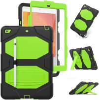 iPad 7th Generation Case,HXCASEAC Soft Silicone+Hard PC Hybrid [Shockproof] Protection Case with [Built-in Stand] & [Pencil Holder] Screen Protector for 10.2 New iPad 7th Generation 2019 (Black/Green)