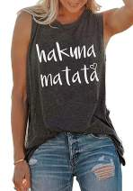 Hakuna Matata Tank Top Women Letters Print Sleeveless with Funny Sayings Tank Tops