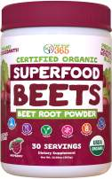 USDA Organic Superfood Beet Root Powder by Feel Great Vitamin Co.  Beetroot Nitric Oxide Supplement with Natural Nitrates for Natural Energy*   Supports Increased Blood Circulation and Immune Support*