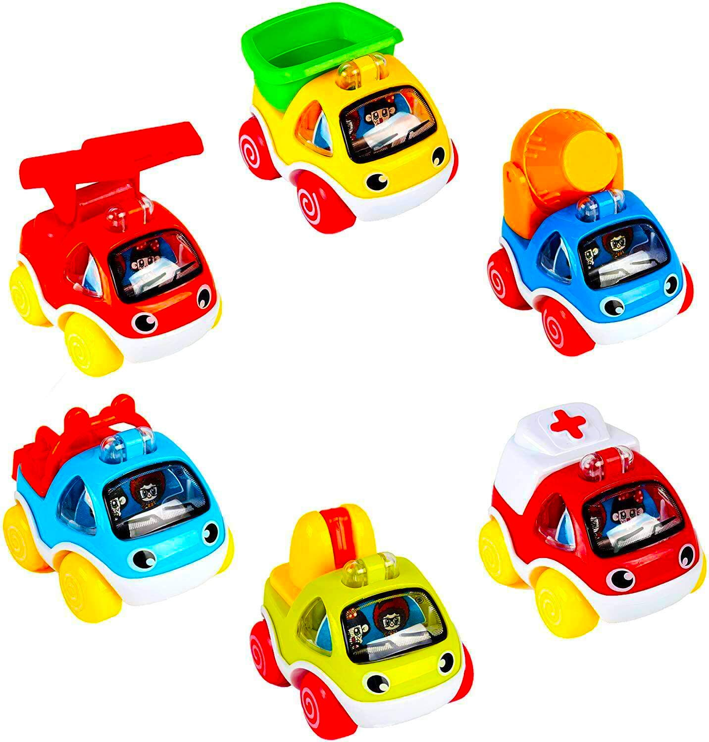 LUKAT 6 Piece Toys Cars Set, Pull Back Cars for 1 2 3 Years Old Baby Kids, Toddlers Early Education Go Car Toy for Boys Girls