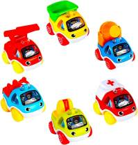 LUKAT Toys Cars Set, 6 Piece Pull Back Cars for 1 2 3 Years Old Baby Kids, Toddlers Early Education Go Car Toy for Boys Girls