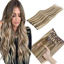 LaaVoo Clip in Hair Extensions Remy Human Hair Clip in 100% Remy Ash Brown Highlight Lightest Blonde Long Silky Straight Double Weft Thick Clip Hair Extension 17Clips 100g/7pcs #P8/60 16inch