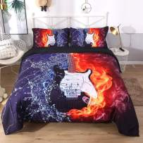 DECMAY 3D Flame Electric Guitar Comforter Set 3 Pieces Blue Water and Red Fire Print Music Bedding 1 Duvet with 2 Pillowcases Box Stitched Durable Quilt Set for Kids Boys and Girls,Twin Size