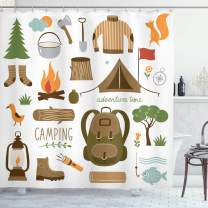 "Ambesonne Adventure Shower Curtain, Camping Equipment Sleeping Bag Boots Campfire Shovel Hatchet Log Artwork Print, Cloth Fabric Bathroom Decor Set with Hooks, 84"" Long Extra, White Khaki"