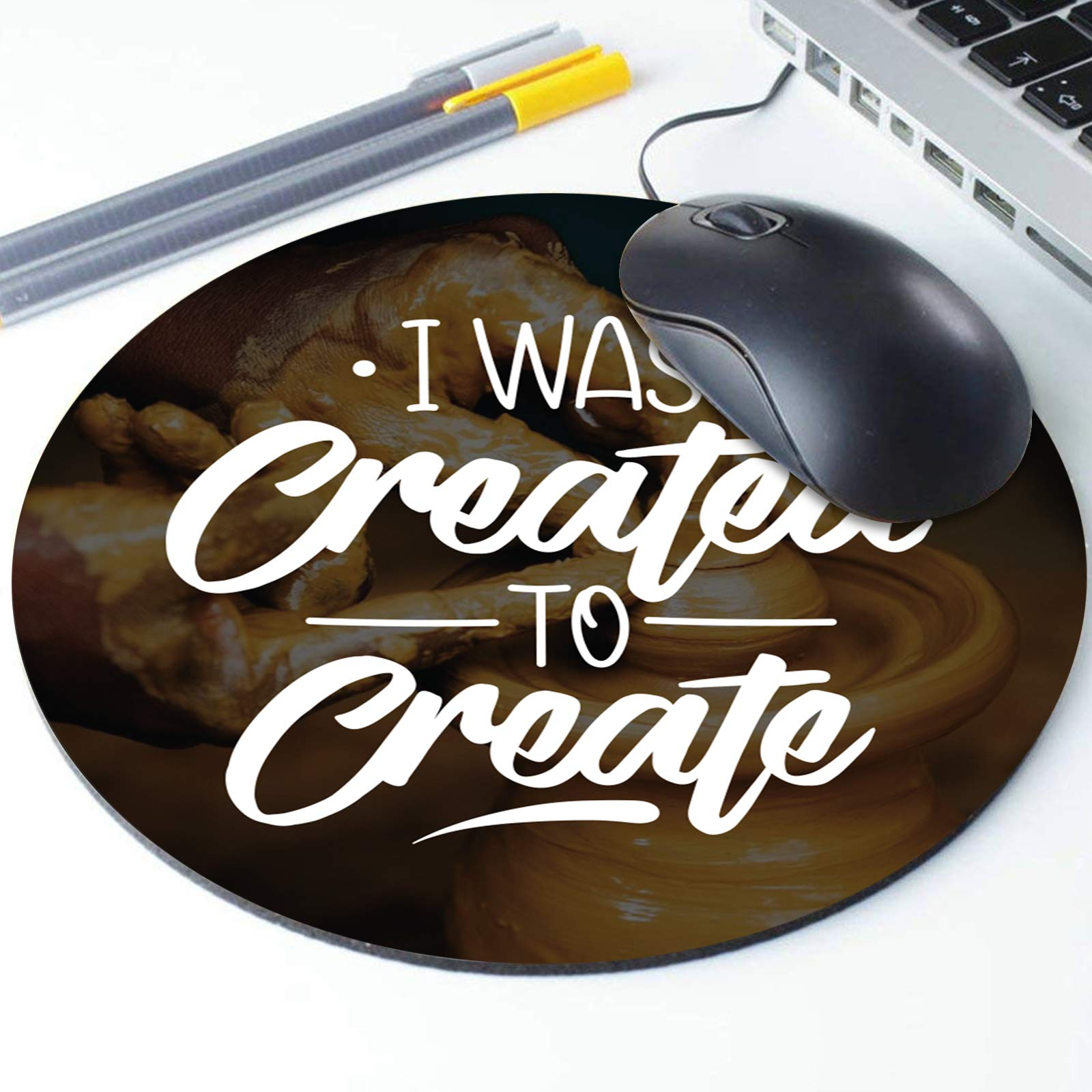 I was Created to Create Mouse Pad, Inspirational Motivational Quote Round Ergonomic Mouse Pad Non-Slip Rubber Material for Office Desk Gaming Home Space Decor - 220mm Diameter