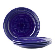 """Tuxton Home Concentrix Dinner Plate (Set of 4), 10 1/2"""", Cobalt Blue; Heavy Duty; Chip Resistant; Lead and Cadmium Free; Freezer to Oven Safe up to 500F"""