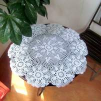"""HOLY HOME Handmade Crochet Doily Cotton Lace Round Tabletop/Sofa Cover Décor (White, 28"""")"""