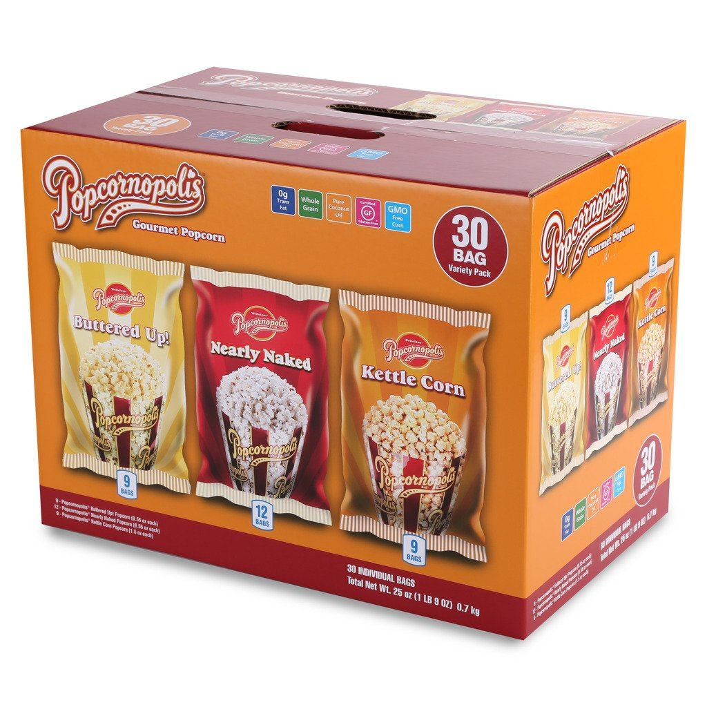Popcornopolis Gourmet Popcorn Single Serving Variety Pack, 25 Ounce Box Including Nearly Naked, Buttered Up! and Kettle Corn