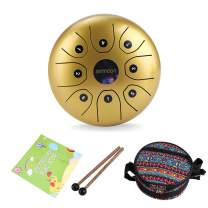 ammoon Steel Tongue Drum 5.5 Inches 8 Notes C-Key Handpan Drum Steel Pocket Drum Percussion Instrument with Mallets Carry Bag for Meditation Yoga Zazen Musical Education-Gold
