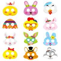 MALLMALL6 24Pcs Easter Masks Easter Bunnies DIY Toys Rabbit Dress Up Costumes Mask Easter Party Supplies Birthday Party Favors Pretend Play Accessories Photo Booth Props for Kids