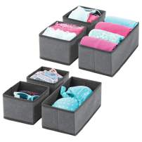 mDesign Soft Fabric Dresser Drawer and Closet Storage Organizer for Bedroom, Closet, Shelves, Drawers - Clothing/Accessory Organizing Bins - Set of 6 in 2 Sizes - Textured Print - Charcoal Gray/Black