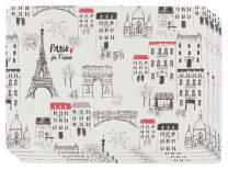 Now Designs Set of Four Cork-Backed Hard Placemats, Paris Je Taime, 4 Count