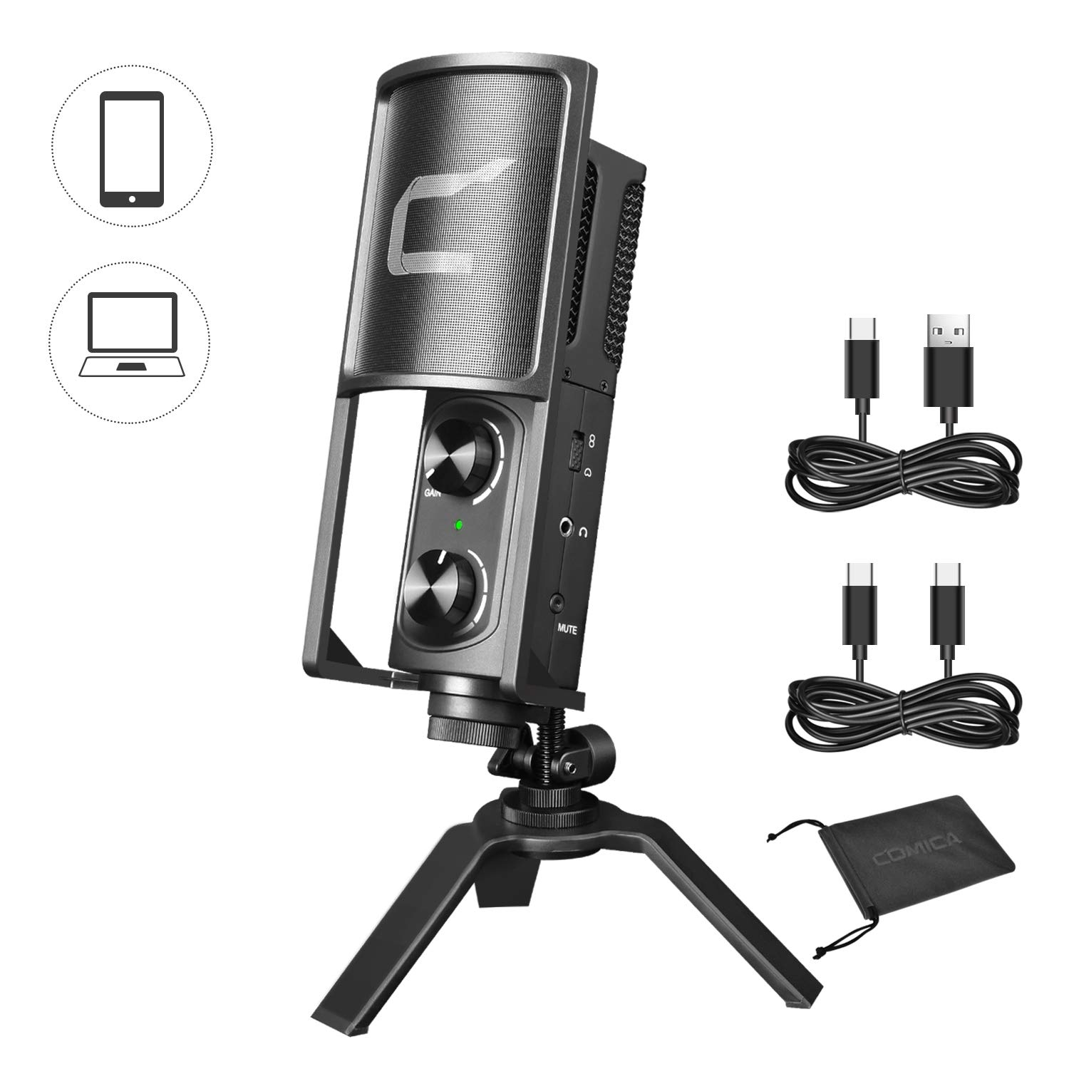 Comica STM-USB Versatile Metal Condenser Cardioid Microphone for USB C Smartphone and Computer, Studio Recording Microphone for Live-Streaming, Podcaster,Gaming, Studio Vocal, Online Course