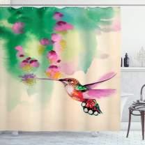 "Ambesonne Hummingbird Shower Curtain, Art with Colibri Bird and Flowers Romantic Springtime Tropics Nature Theme, Cloth Fabric Bathroom Decor Set with Hooks, 70"" Long, Fuchsia Green"