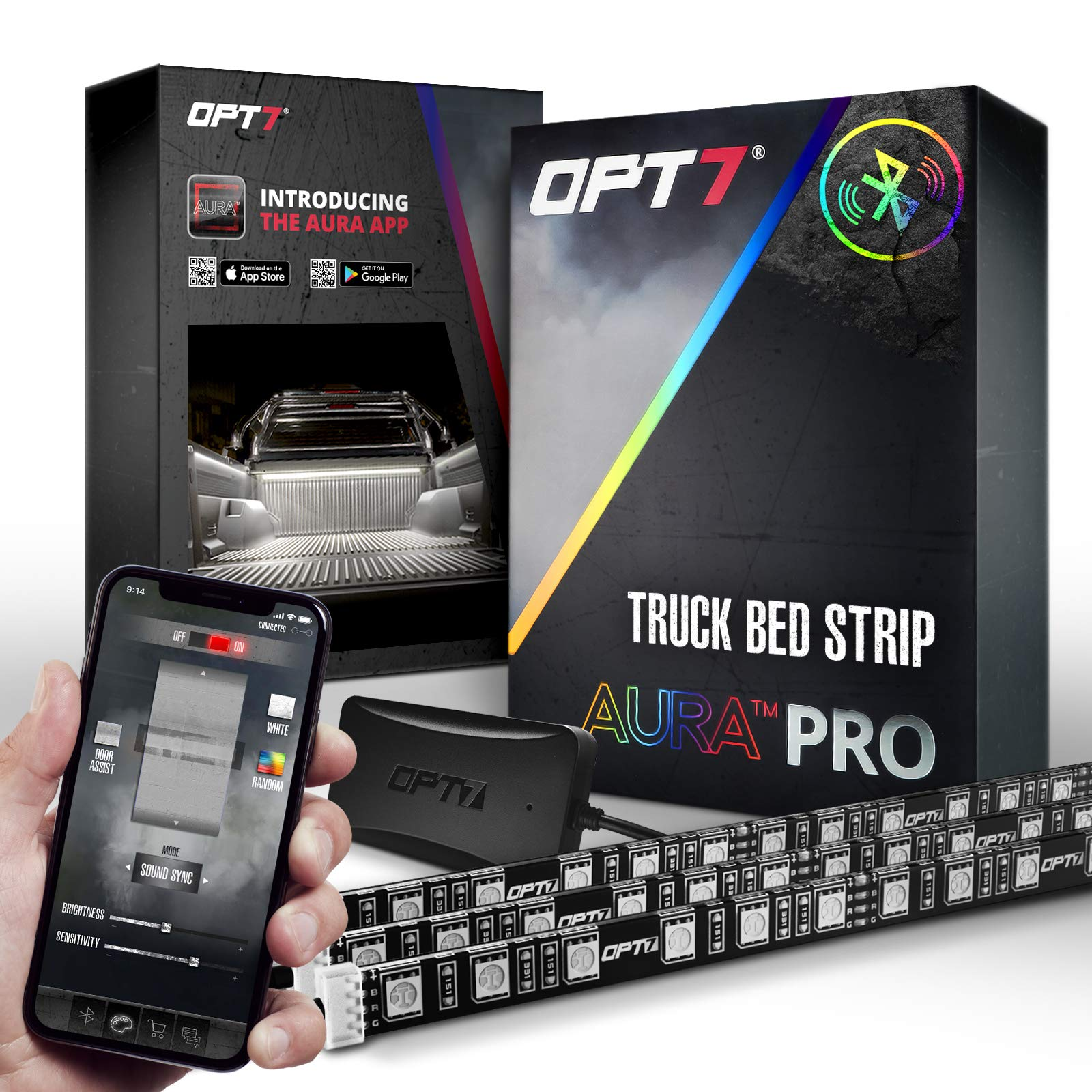 OPT7 Aura PRO Wireless Bluetooth 3pc Truck Bed LED Lighting Strip Kit -OE-Style Rocker Switch - Sound Activated Multi Color Lights - 1 Yr Warranty- iOS & Android
