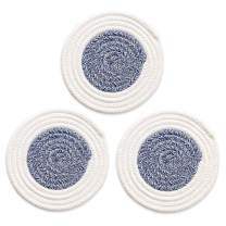 Kitchen Trivet Woven Fabric Trivets Round Hot Pads Coasters for Hot Dishes, 100% Pure Cotton Thread Weave Potholder Set Heat Resistant & Non-slip & Absorbent, Diameter 7 Inch Set of 3 White Blue
