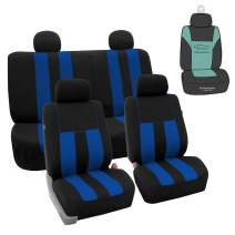 FH Group FB036114 Striking Striped Seat Covers (Blue) Full Set with Gift - Universal Fit for Trucks, SUVs, and Vans
