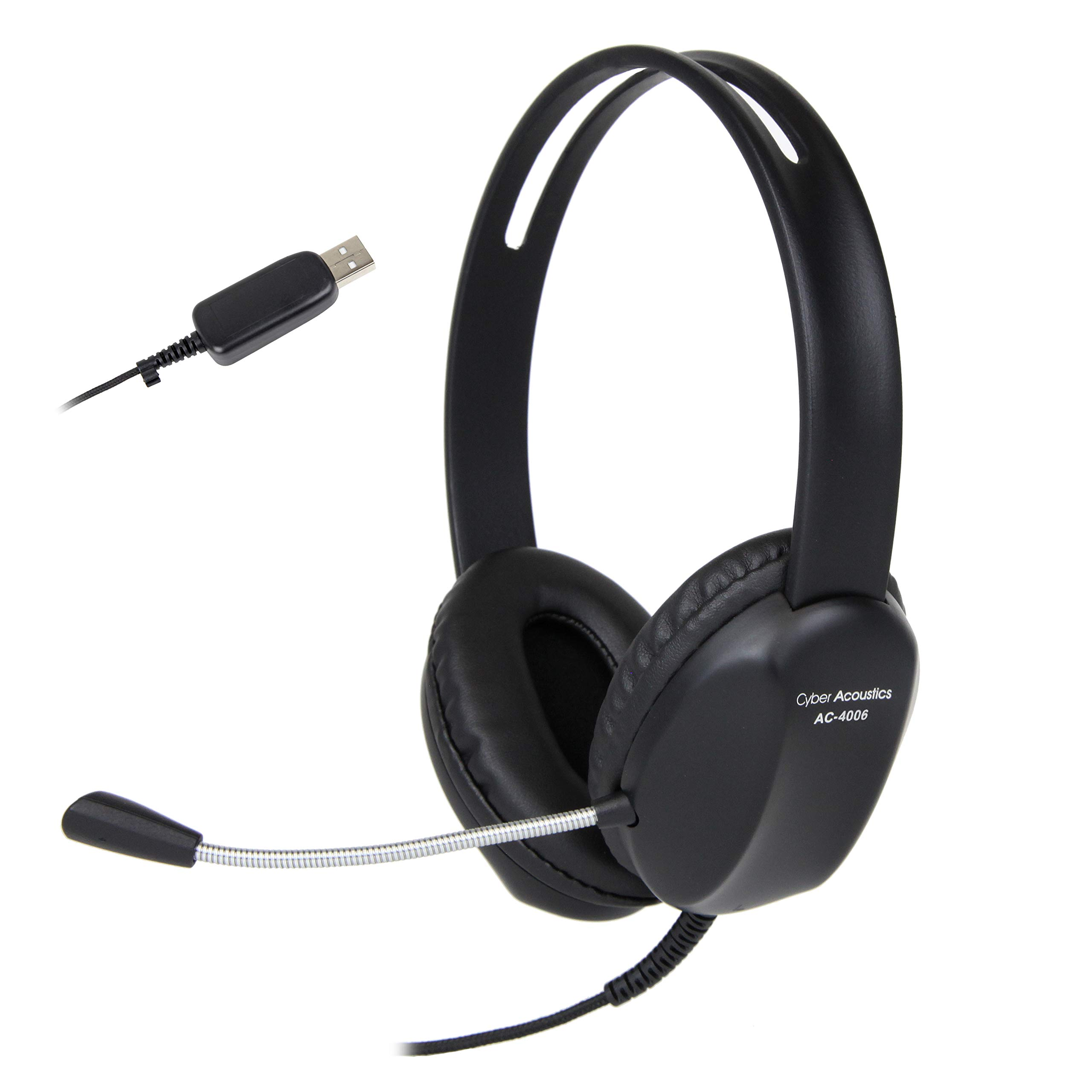 (80 Pack) Cyber Acoustics USB Stereo Headset with Headphones and Noise Cancelling Microphone for PCs and Other USB Devices in The Office, Classroom or Home (AC-4006)