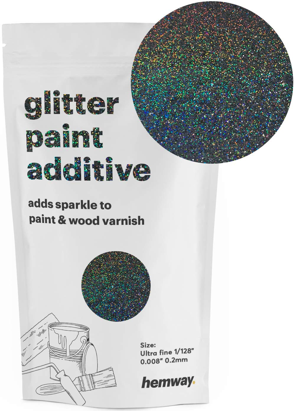 "Hemway Glitter Paint Additive Ultrafine 1/128"" .008"" 0.2MM Emulsion Water Based Paints Wall Ceiling 100g / 3.5oz (Black Holographic)"