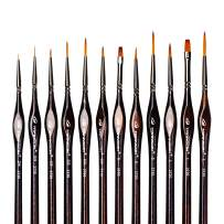 Transon Artist Detail Paint Brushes with Case 12pces for Miniatures, Models, Acrylics, Oil, Tempera, Enamel, and Body Painting