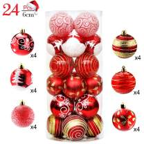 """XinXu 24ct Christmas Ball Ornaments, Shatterproof Christmas Tree Balls Decorations Personalized Glossy Xmas Small Hanging Ball Decoration for Festival Party Wedding Decoration 2.4"""" (6cm Red)"""